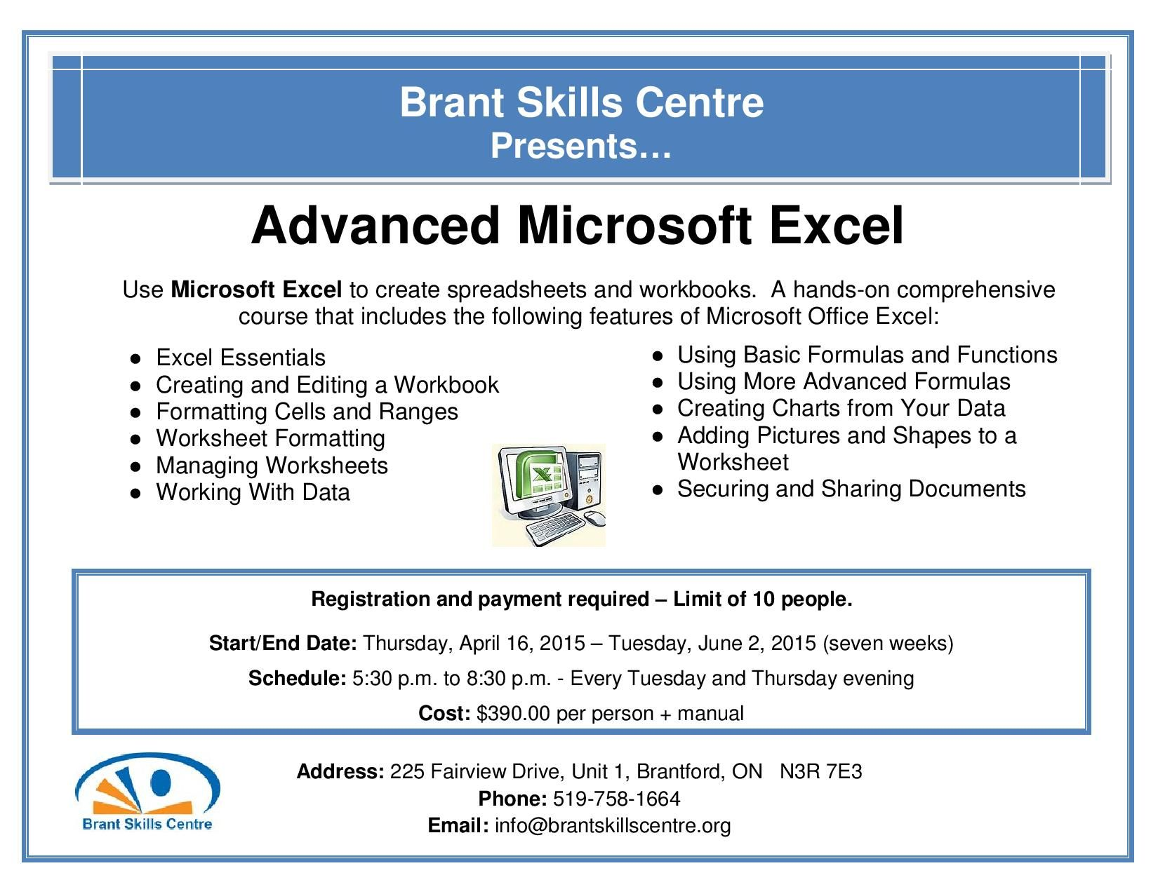 Advanced Microsoft Excel Registration And Payment Required Limit Of 10 People Start End Date Thursday April 16 2016 To Writing Services Workbook Skills