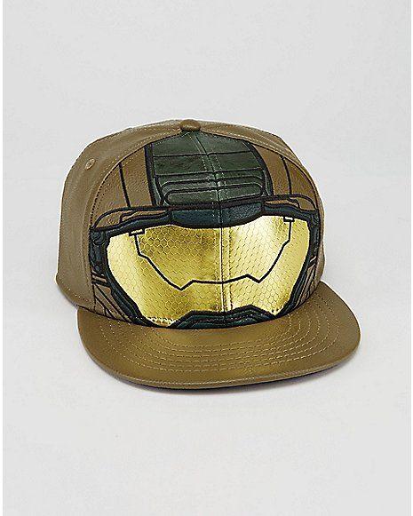 6d73ab2c7b95b Flatbill Pleather Master Chief Halo Snapback Hat - Spencer s ...