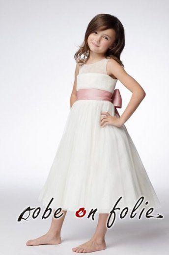 """9426714b3cd41 """"MAELYS""""- Très mignonne robe de princess blanc pour petite fille en satin  et mousseline. """""""