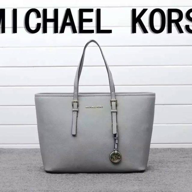 MICHAEL Michael Kors Jet Set Travel Saffiano Leather Tote Grey