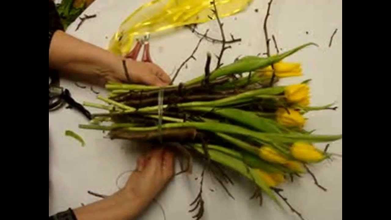 Super Frühlingsdeko mit Tulpen. Blumenstrauß selber binden, Video #BO_95
