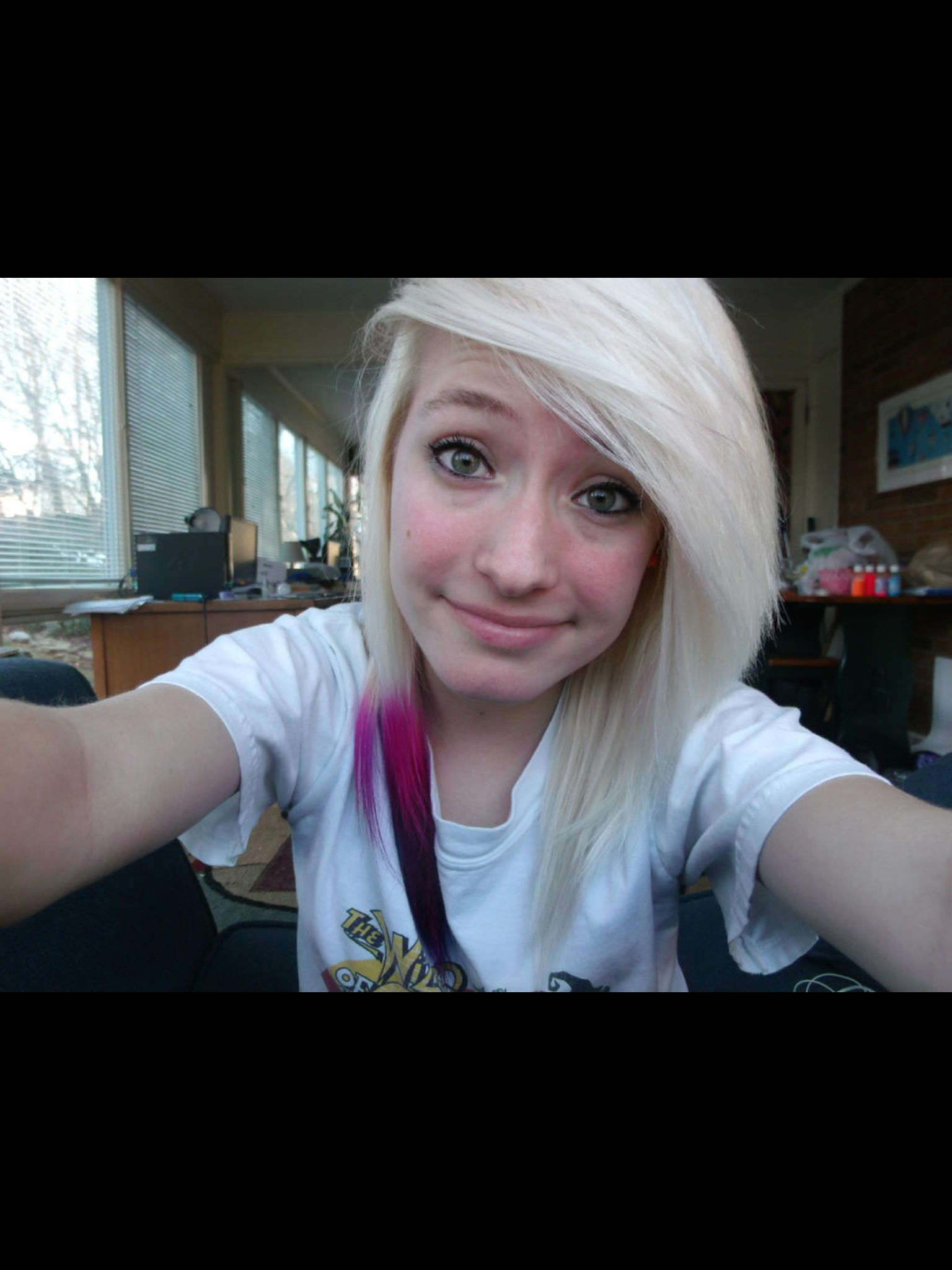 my mom said I could cut my hair like this. but not the color. but still!