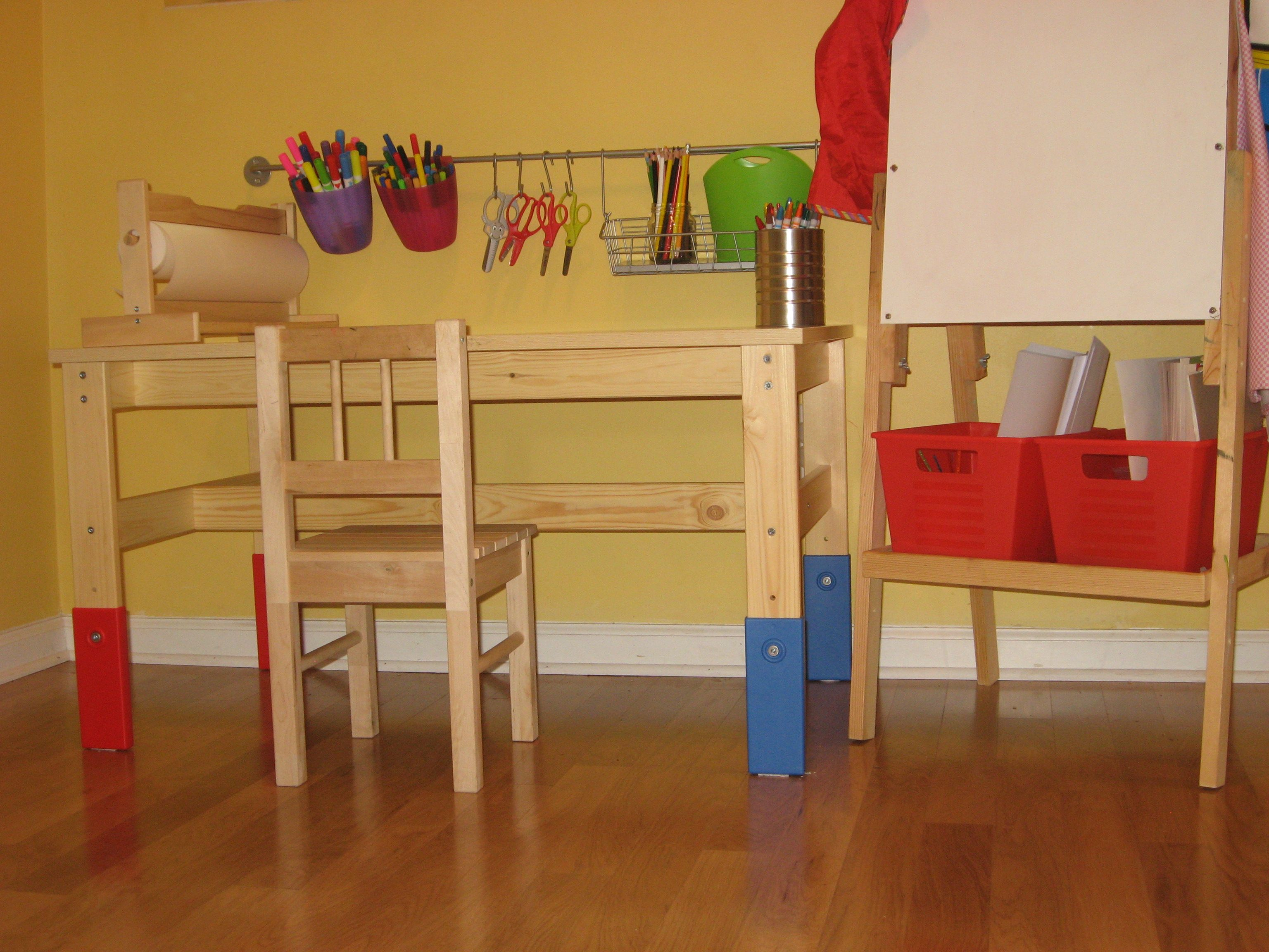 Our Kid Friendly Art Center (IKEA Table, Chair, Paper Roll, Rail