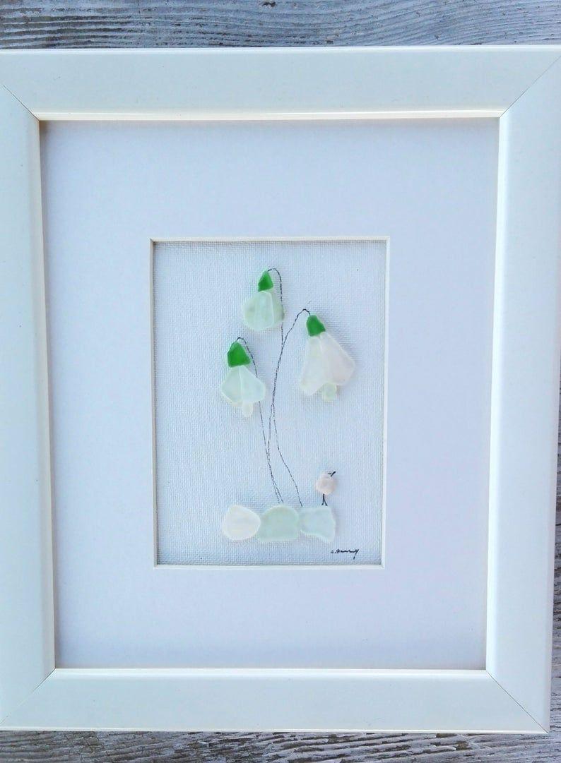 Framed Art Flowers Flower Flowers Decor Floral Decor Sea glass Flowers Love Sea glass flowers Flowers Art Sea Glass Artwork