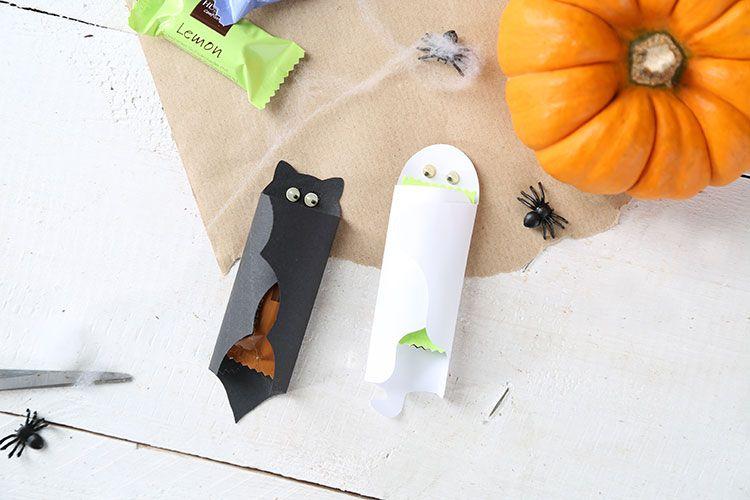 Kleine Schokoladenriegel ganz einfach Halloween tauglich machen ...