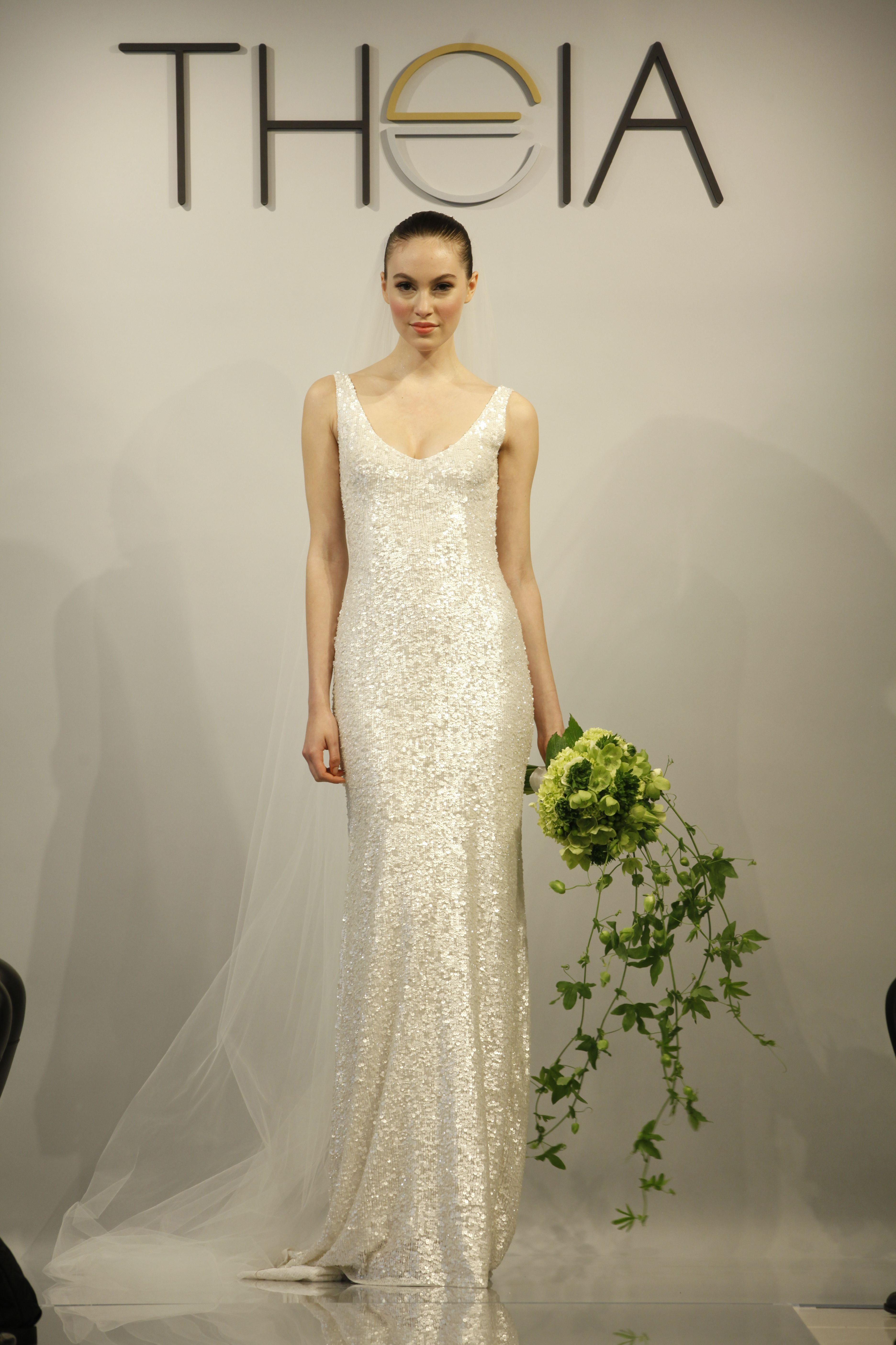 THEIA - Harlow - 890060 White Sequined Gown #weddings #bridal #dress ...