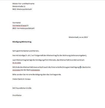 mietervertrag kndigung vorlage - Arbeitskundigung Muster