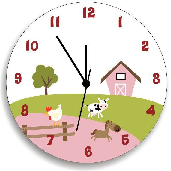 Farm Animal Nursery Wall Clock Bedroom Hanging