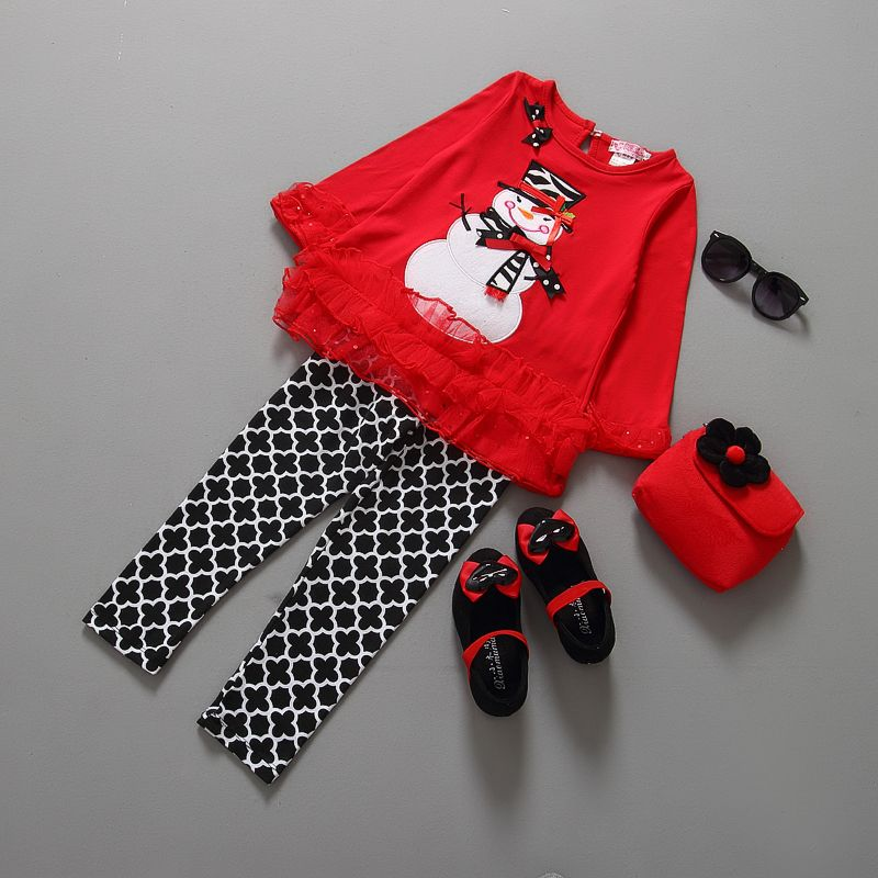 232c95698 Christmas clothes for kids clothes girls sets 2 pieces children christmas  clothing set xmas baby girl