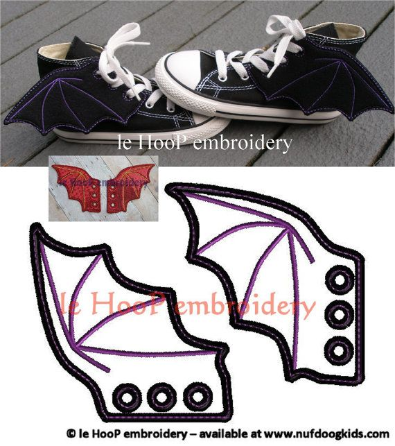 4x4 5x7 BAT DRAGON Shoe Wings Machine Embroidery In-The-Hoop Design Goth Costume superhero cosplay Steampunk Fantasy Batman shoelace charm