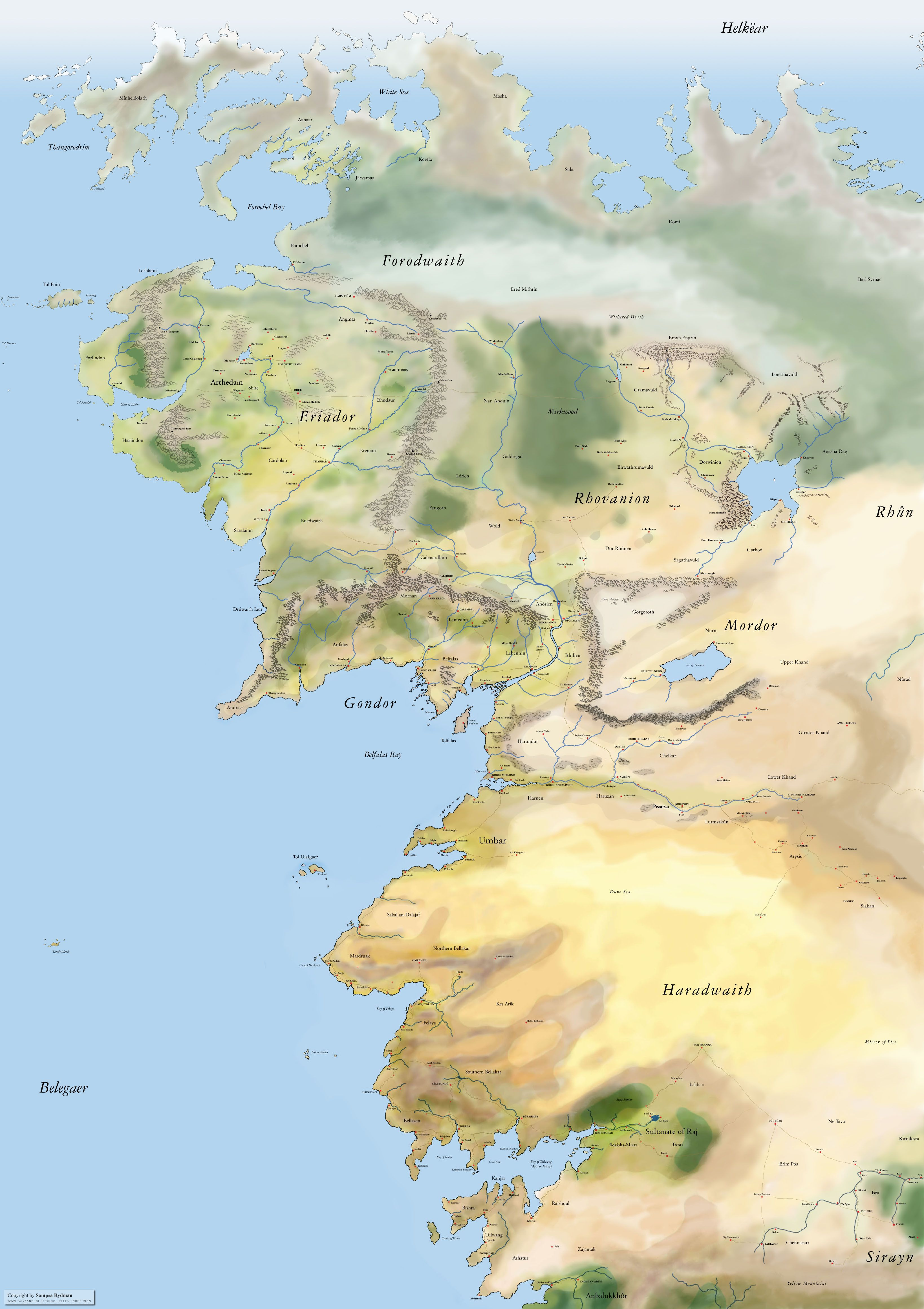 Non canonical expanded map of North Western Middle Earth partially