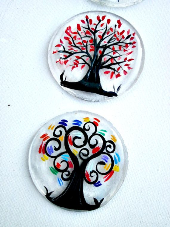 Magnets Three Tree Magnets Recycled Beer Bottoms by GlassGaloreGal