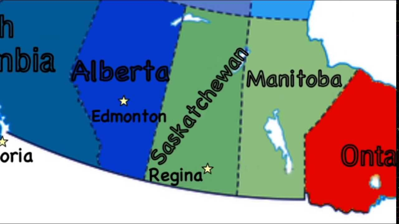 Map Of Canadas 3 Territories.A Song For Children Showing The 10 Provinces And 3 Territories That