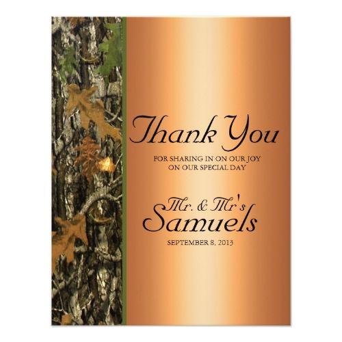 Hunting Camo Wedding Thank You Card