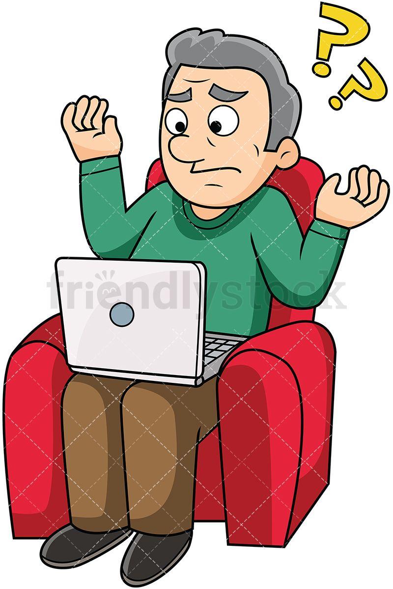 Old Man Confused With Computer Cartoon Vector Clipart Friendlystock Cartoons Vector Cartoon Clip Art