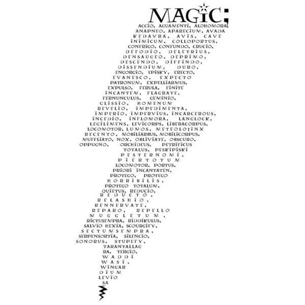magic wands and millennium items; ❤ liked on Polyvore featuring text, harry potter, fillers, words, quotes, backgrounds, articles, magazine, doodles and saying