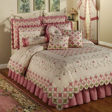 Coras Cathedral Garden Cotton Quilt Set Bedding | Cathedral window ... : the cotton quilt - Adamdwight.com