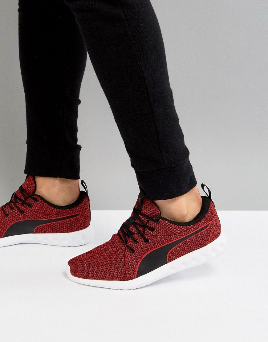 PUMA RUNNING CARSON 2 KNIT SNEAKERS IN BURGUNDY 19003902 - RED.  puma   4d1f5bc0c