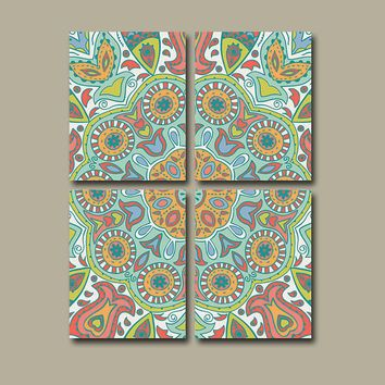 Wall Art Canvas Kitchen Bedroom Pottery Aztec Paisley Decor Bathroom ...