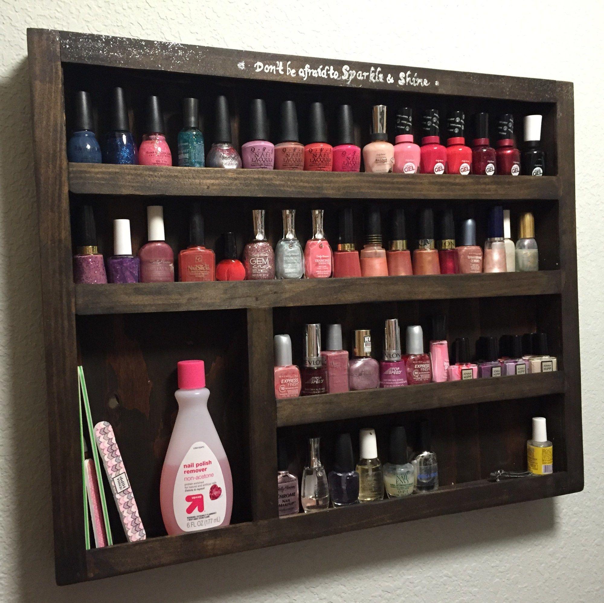 DIY Wood Nail Polish Rack – Free plans! | Wood nails, Storage rack ...