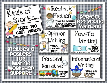 Writing Workshop Poster Set {Kinds of Stories We Write!}. $