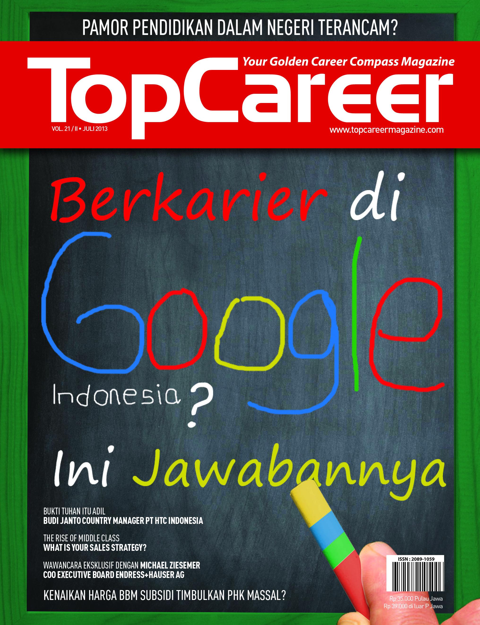 Cover Majalah Edisi.21 Berkarier Di Google Indonesia