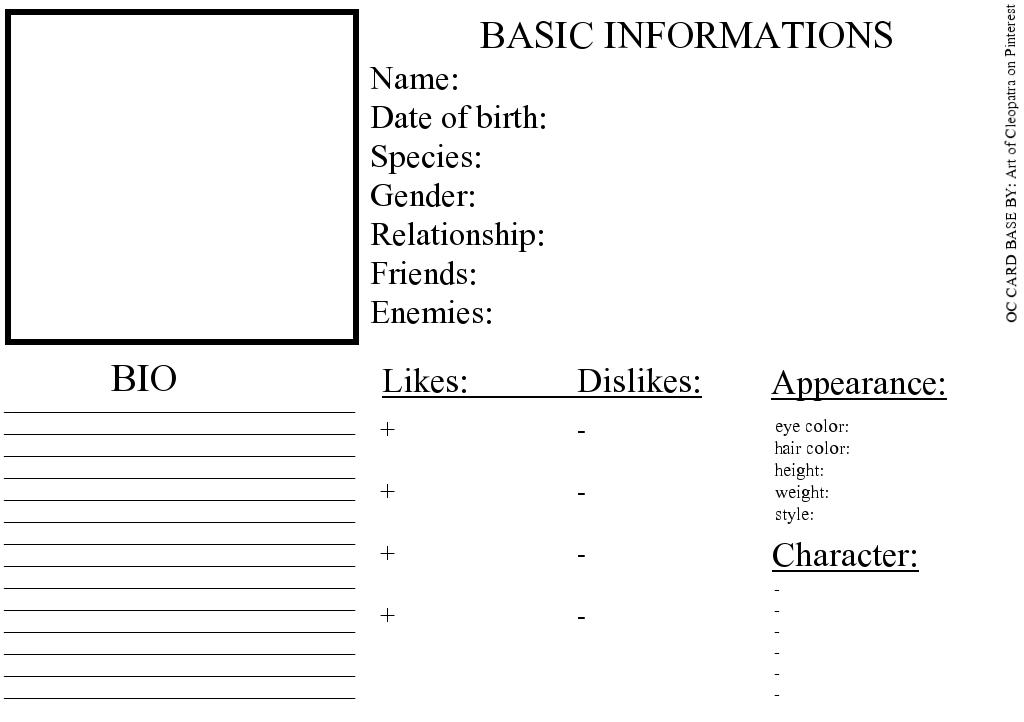 Pin By Mickayla Kirk On Mickayla Kirk Character Reference Sheet Character Sheet Writing Character Bio Template