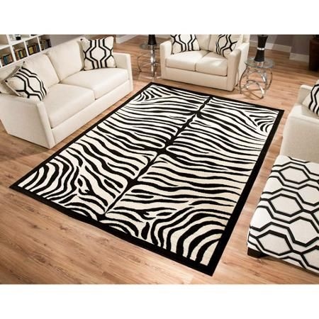 Terra Zebra Woven Area Rug Black And Beige