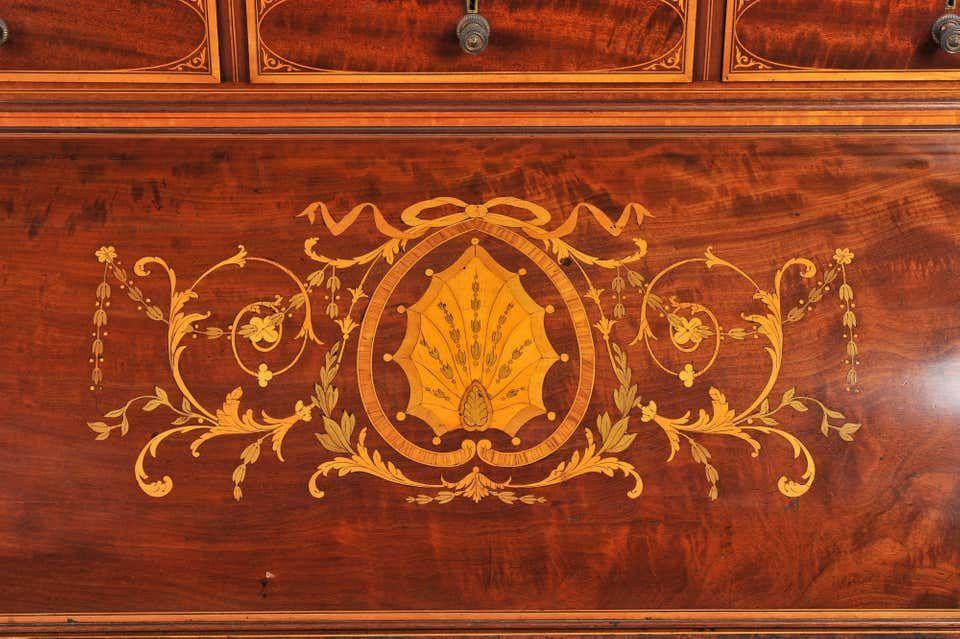 Edwardian Mahogany Inlaid Cylinder Desk #edwardianperiod
