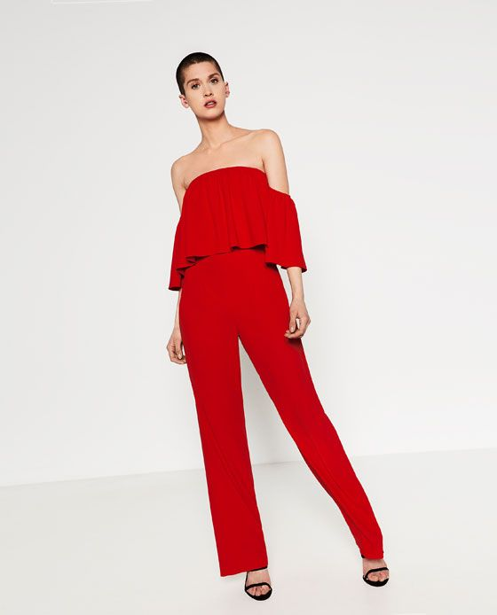 5d63e5621cb Image 1 of OFF-THE-SHOULDER JUMPSUIT from Zara