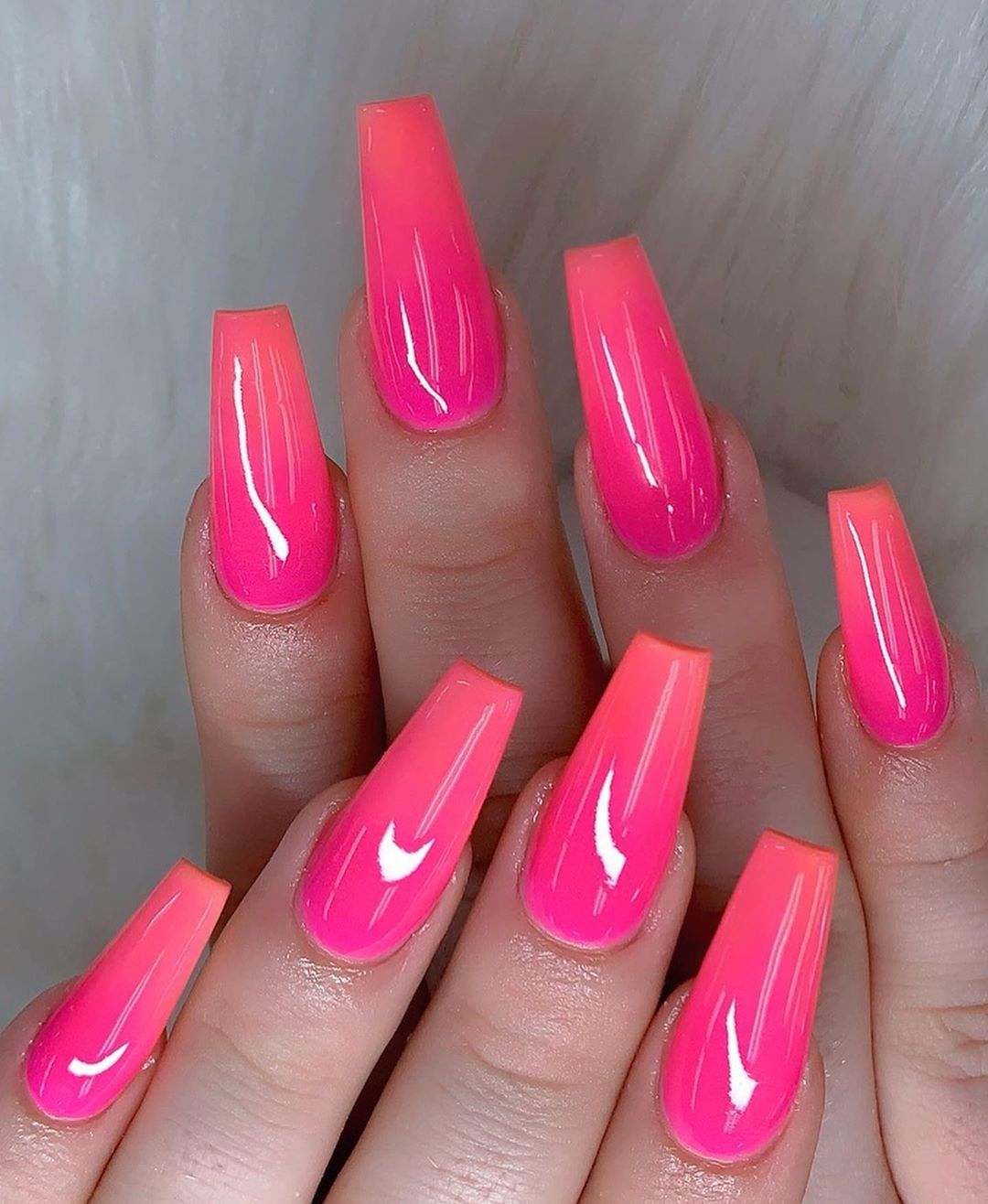 Love Summer Color Hot Pink Glow In The Dark Orange Ombre Swipe To See All The Picture Best Acrylic Nails Pink Nail Art Designs Summer Acrylic Nails