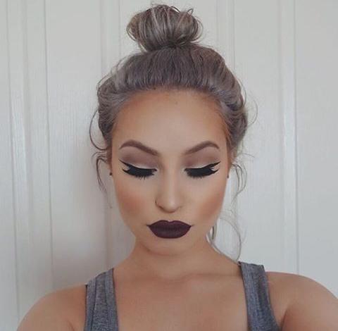 beauty, black, girl, gray hair, lips, make up