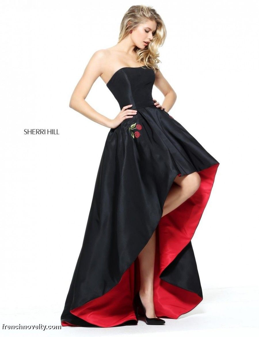 c2c16992bf07 Sherri Hill 51035 is a strapless prom dress with embroidered cherry pockets  and a high-low hem.