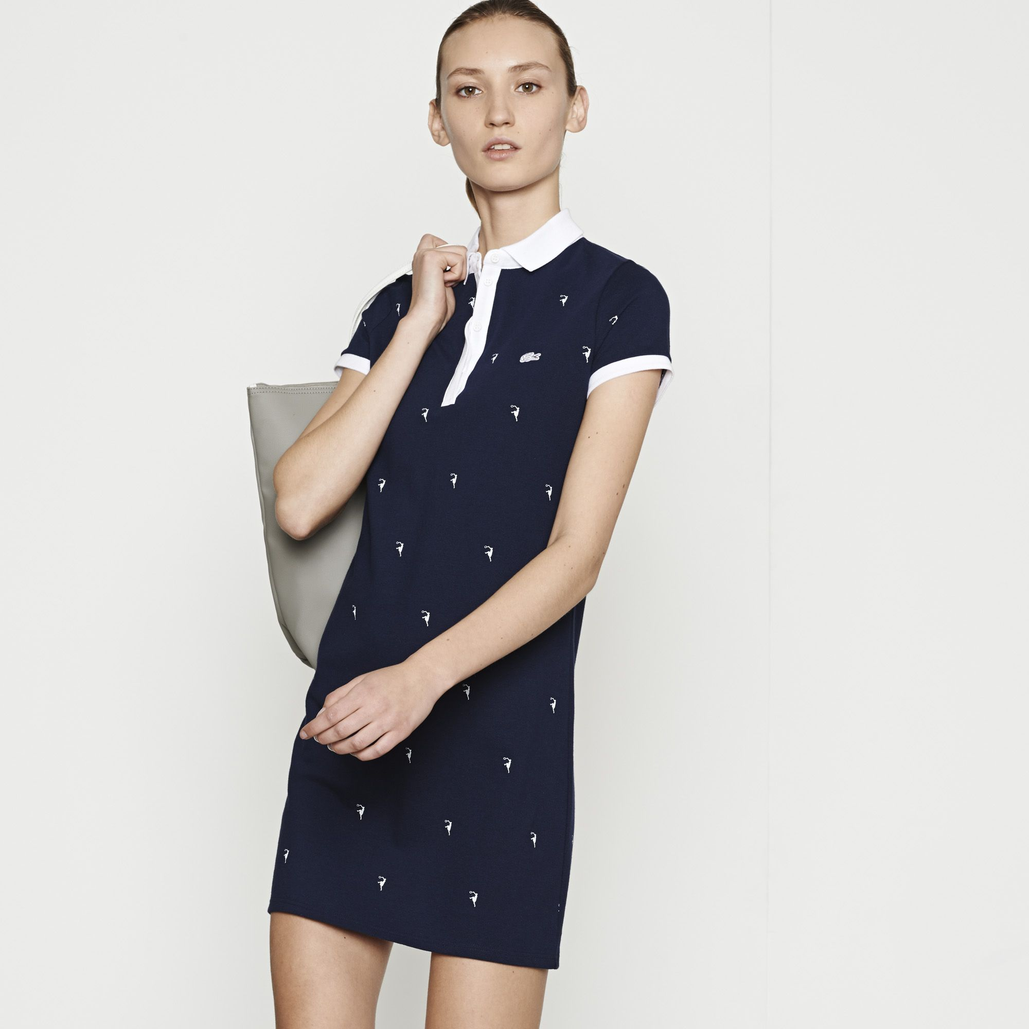 5c9cd20363 Robe polo à motifs Edition Roland Garros - MARINE/BLANC | LACOSTE ...