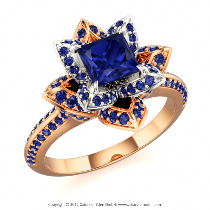 Princess cut Square Blue Sapphire and Round Blue Sapphires in 18k White Gold and 18k Rose Gold - Lotus Blossom Royal Princess Ring