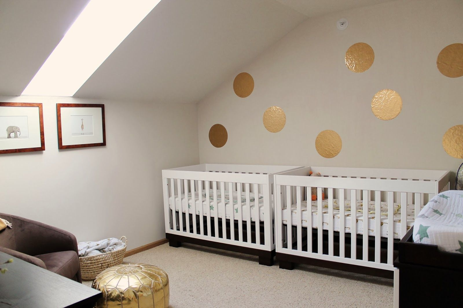 shannonigans the twins' nursery with gold circle decals and twin  - find this pin and more on babyletto modo crib by babyletto