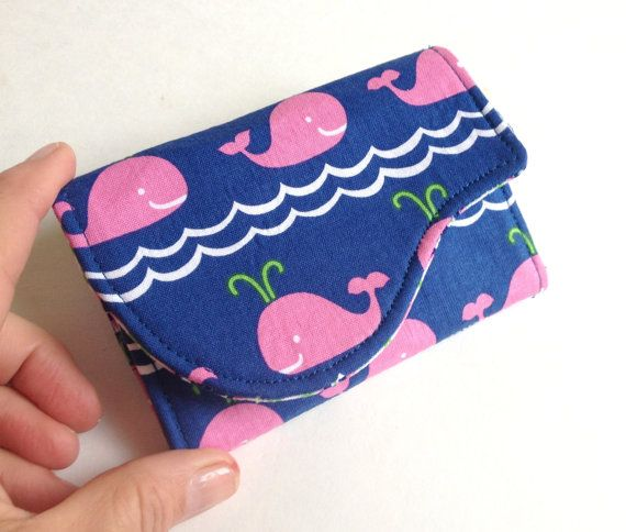 cute business card case in happy whale print navy blue pink green