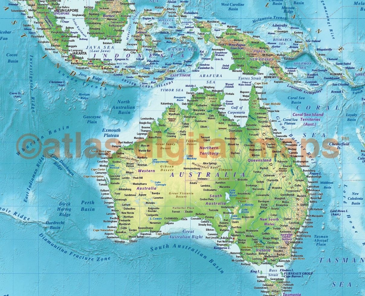 Land and sea relief map of australia in green and blue world map regular style contemporary canvas world wall map x gumiabroncs Image collections