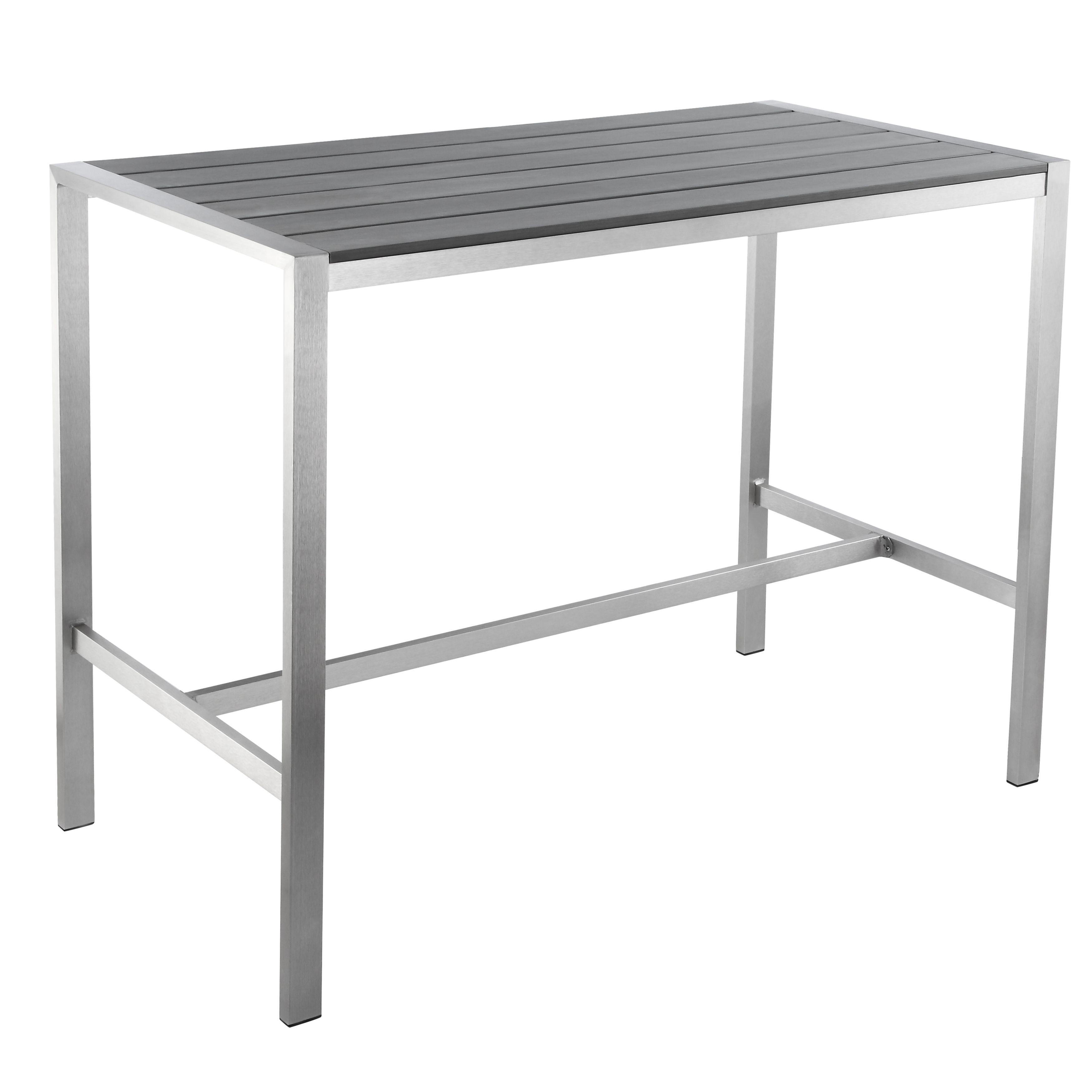 Cortesi Home Haven Collection Grey Outdoor Long Bar Table