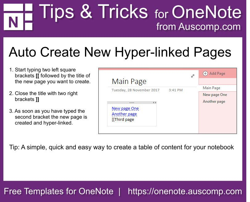 How to create a table of content for your MS OneNote