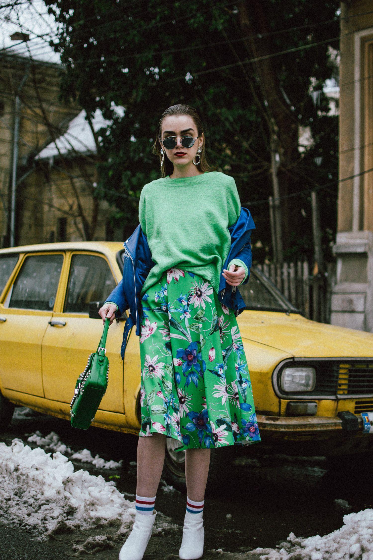 1792393030709 Blue leather jacket, green floral midi dress, sweater, dior sunglasses,  prada studded bag, white ankle boots, andreea birsan, couturezilla, cute  spring ...