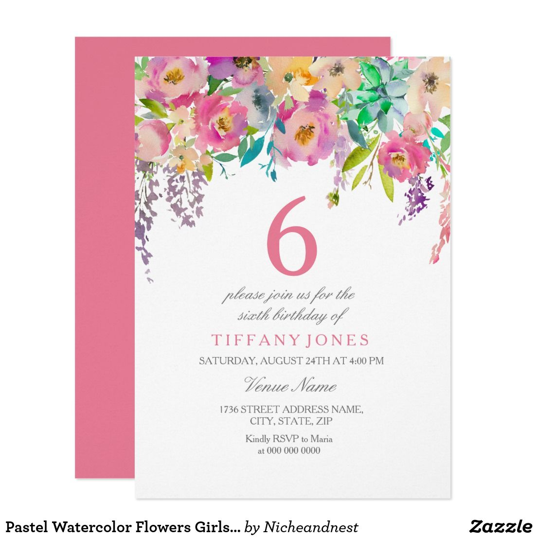Pastel Watercolor Flowers Girls 6th Birthday Party Invitation ...