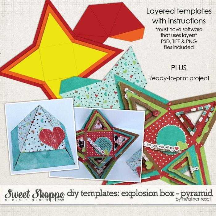 Diy Printable Templates Explosion Box Pyramid By Heather Roselli Exploding Box Card Scrapbook Paper Crafts Explosion Box