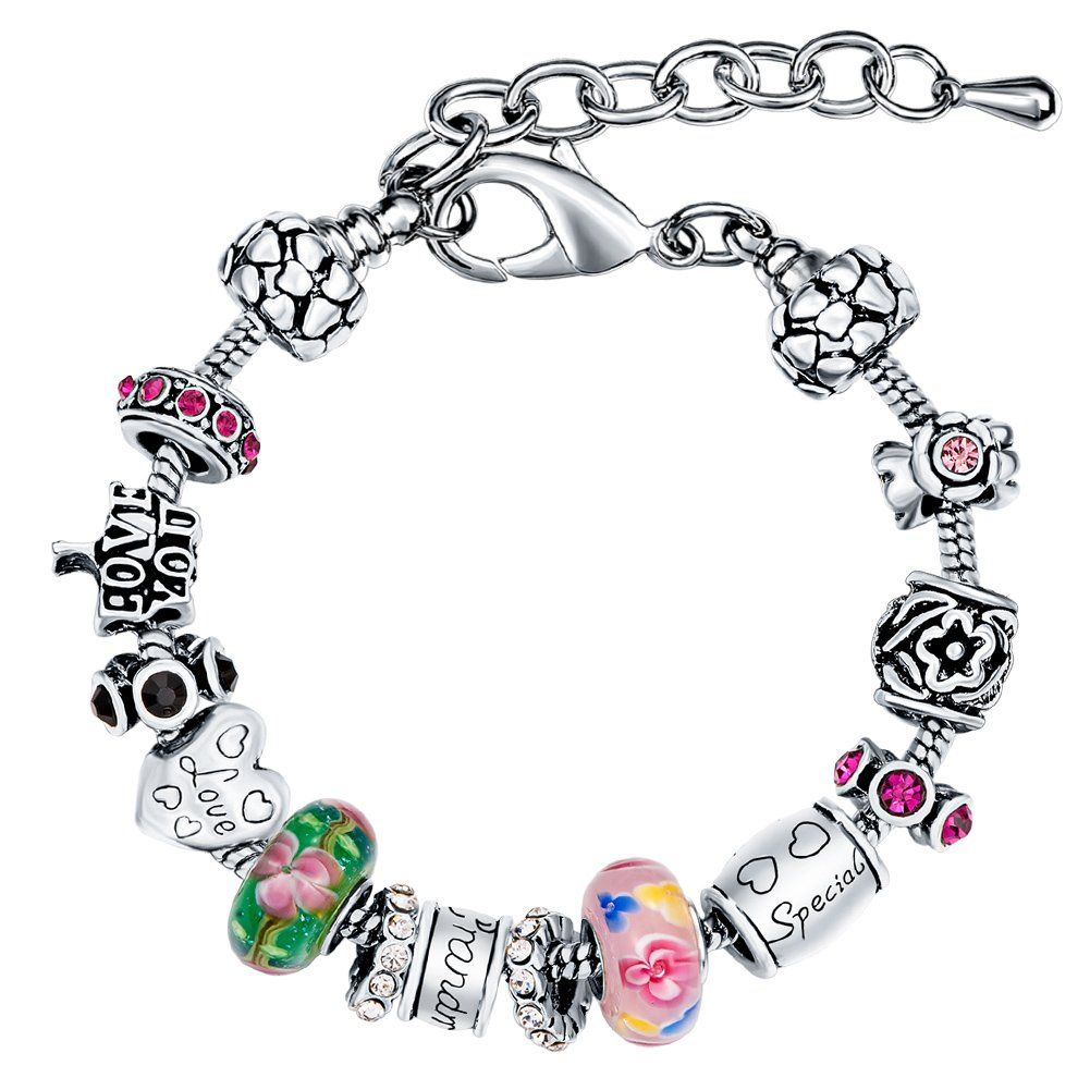 Manbara grandmother charm bracelets with snake chain material
