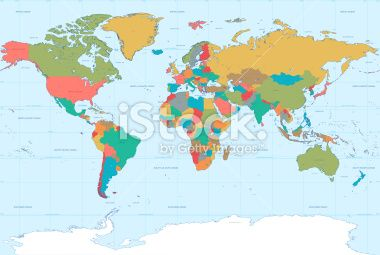 Map Of The Whole World With Names.A High Detail Political Vector Map Of The Whole World With A Classic
