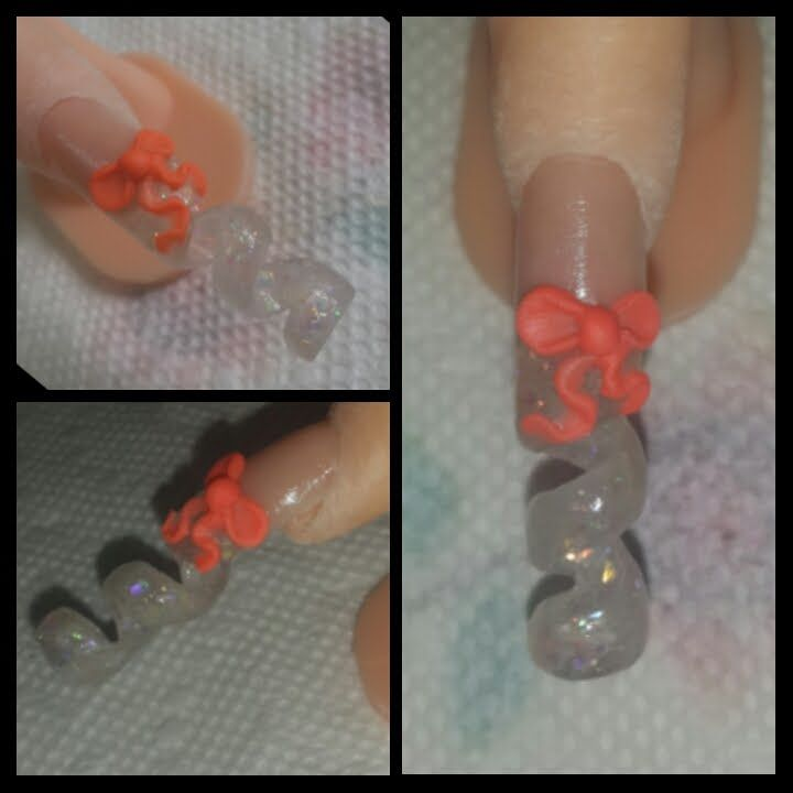Spiral Glitter Nail With Bow Acrylic Tutorial