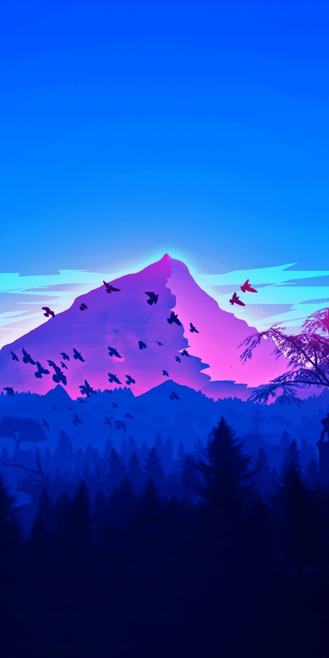 Mountain Peaks Birds Horizon Digital Art 1080x2160 Wallpaper