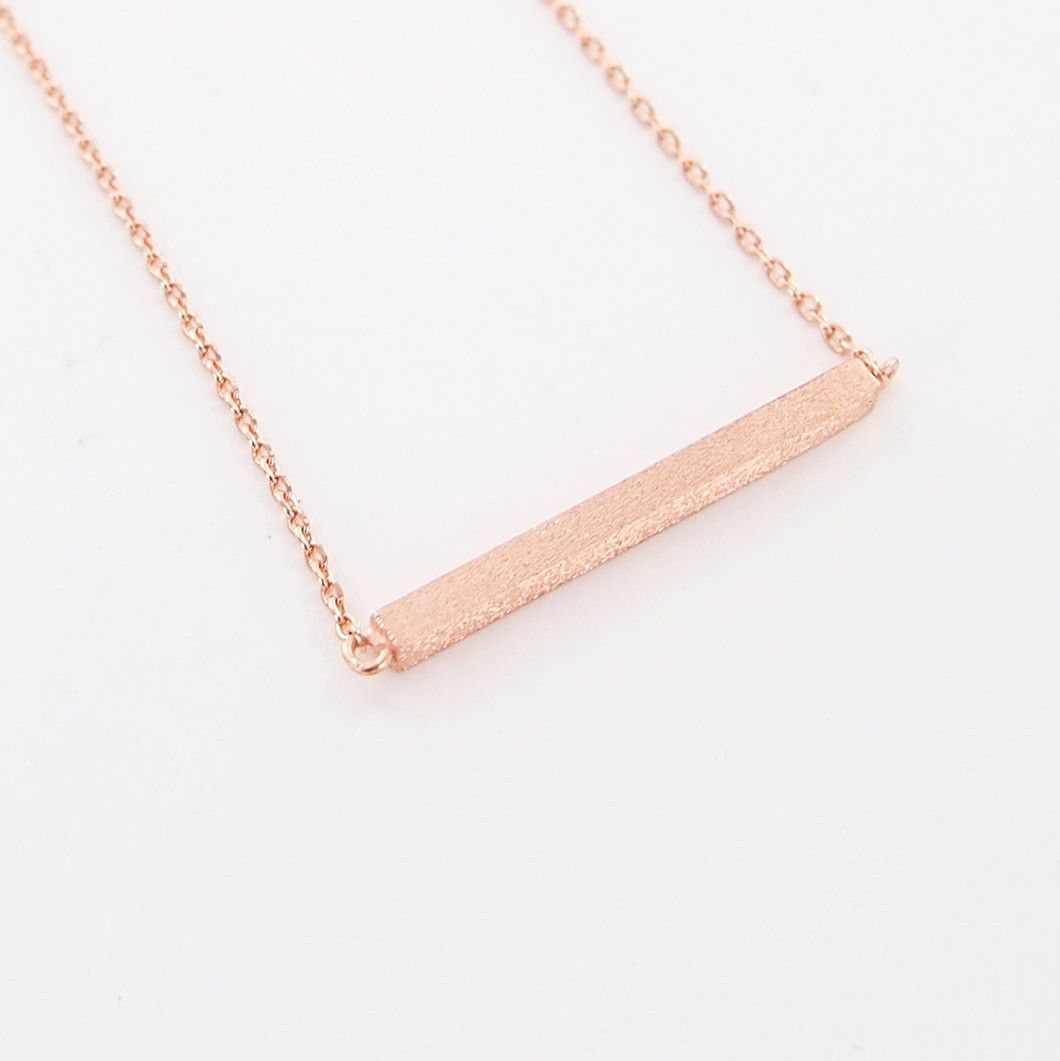♥ total length: 16 in ♥ pendant size: 25 x 3 mm ♥ metal : plated rosegold over brass ♥ lobster clasp