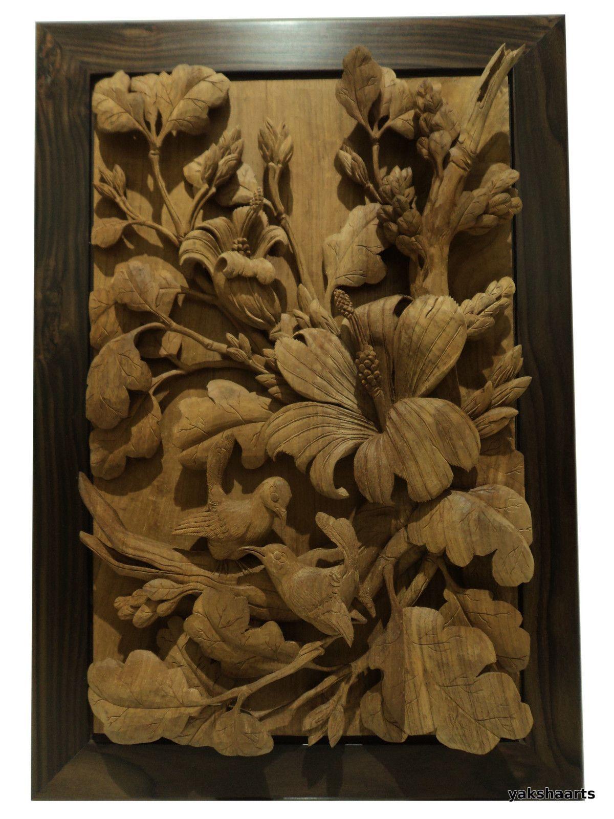 Hand carved teak wood panel carving bird flower relief sculpture