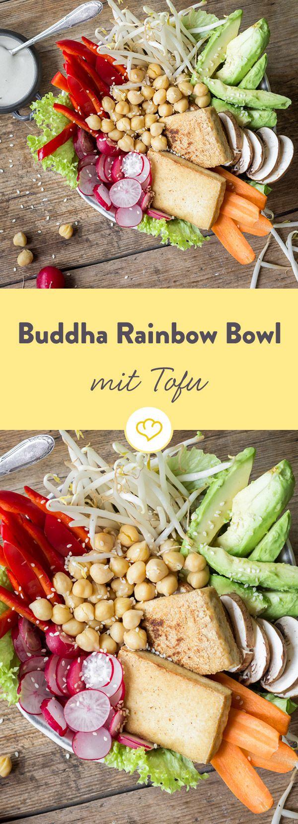 Buddha Rainbow Bowl mit gebratenem Tofu #friedtofu